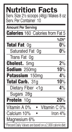 Chocolate Flavor Nutritional Facts