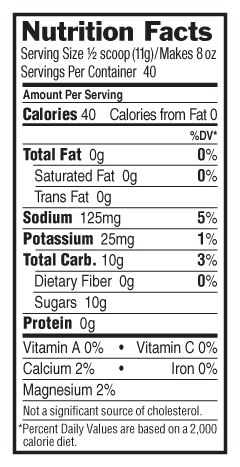 Lemon Lime-ade Flavor Nutritional Facts
