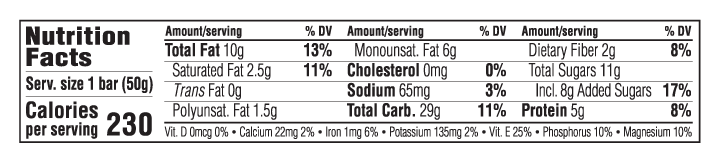 Tart Cherry & Cashew Butter Flavor Nutritional Facts