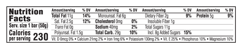Wild Blueberry Acai Flavor Nutritional Facts