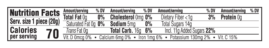 Mixed Berry Flavor Nutritional Facts
