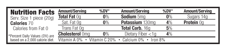 Grape Flavor Nutritional Facts