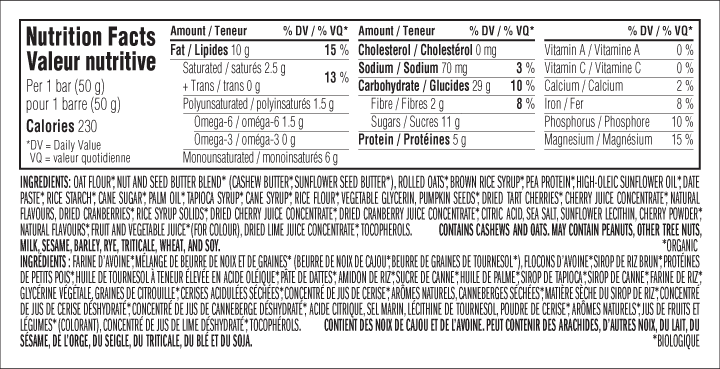 Tart Cherry Berry Flavour Nutritional Facts