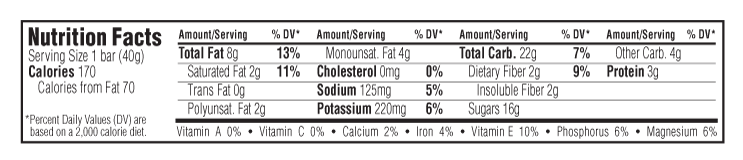 Salted Caramel Nut Nutritional Facts