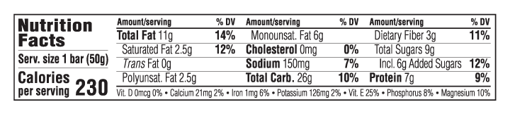 Chocolate & Peanut Butter Nutritional Facts