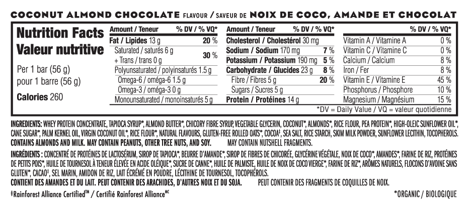 Noix de Coco, Amande et Chocolat Nutritional Facts