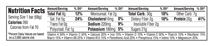 Cookies N Cream Nutritional Facts