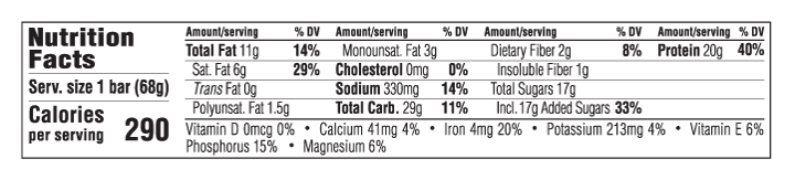 Chocolate Peanut Butter Flavor Nutritional Facts