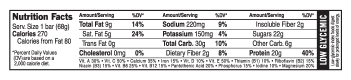 Vanilla Almond Nutritional Facts