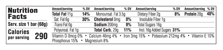 Vanilla Almond Flavor Nutritional Facts