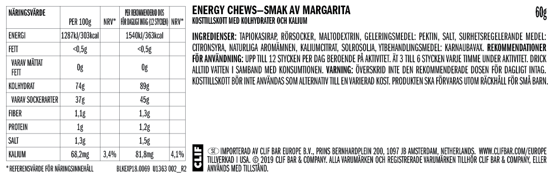 Margarita Citrus Nutritional Facts