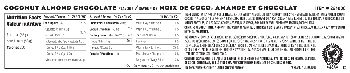 Coconut Almond Chocolate Flavour Nutritional Facts