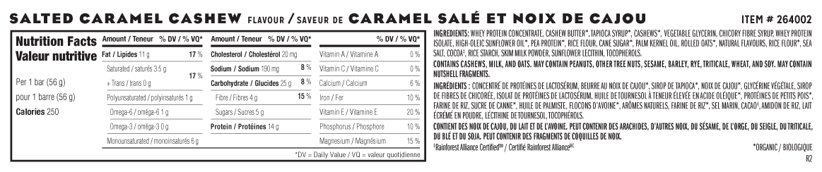 Salted Caramel Cashew Flavour Nutritional Facts