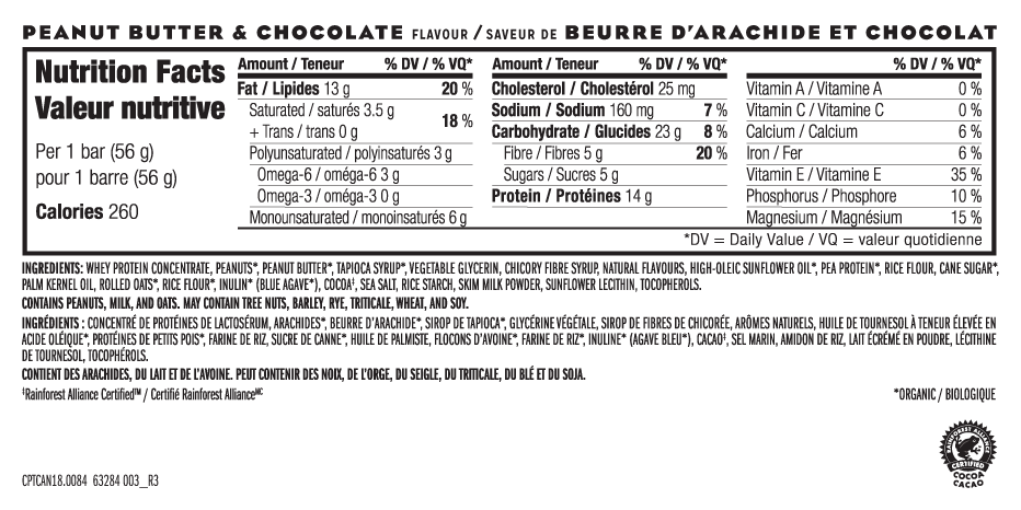 Beurre D'Arachide et Chocolat Nutritional Facts