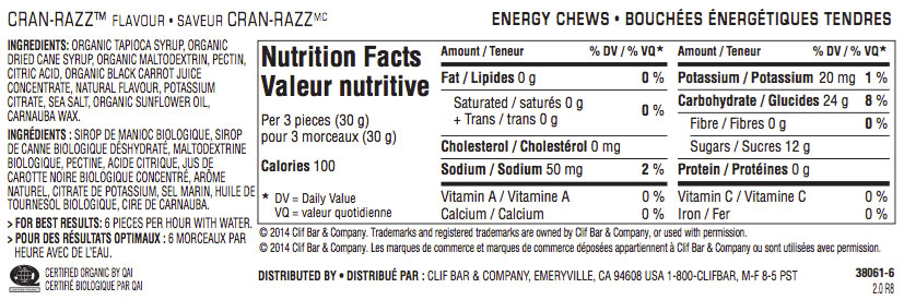 Cran-Razz Nutritional Facts