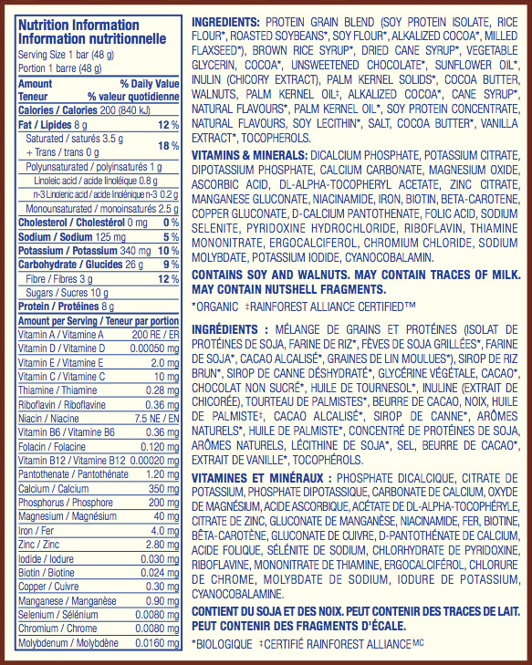 Brownie au Caramel et Auxnoix Nutritional Facts