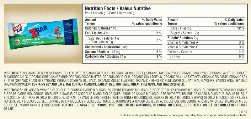 Iced Oatmeal Cookie Nutritional Facts